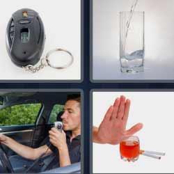 4 fotos 1 palabra vaso con agua