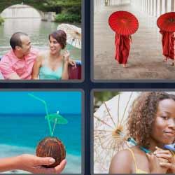 4 fotos 1 palabra sombrillas rojas coco
