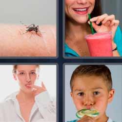 4 fotos 1 palabra mosquito piruleta
