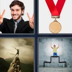 4 fotos 1 palabra medalla con cinta roja