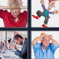 4 fotos 1 palabra mujer tirándose el pelo