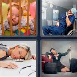 4 fotos 1 palabra mujer durmiendo