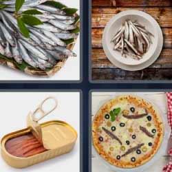 4 fotos 1 palabra lata pescado pizza