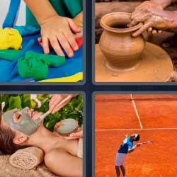 4 fotos 1 palabra jarrón de barro