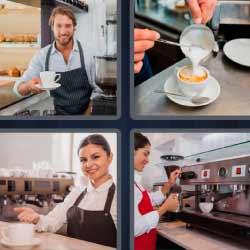 4 fotos 1 palabra preparando café