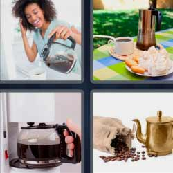 4 fotos 1 palabra granos de café