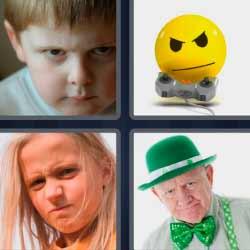 4 fotos 1 palabra niño enojado
