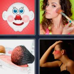 4 fotos 1 palabra mujer maquillándose
