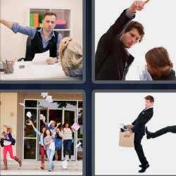 4 fotos 1 palabra discusión oficina