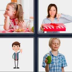 4 fotos 1 palabra niños con cara de asco