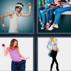 4 fotos 1 palabra mujer pantalones grandes