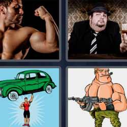 4 fotos 1 palabra hombre musculoso