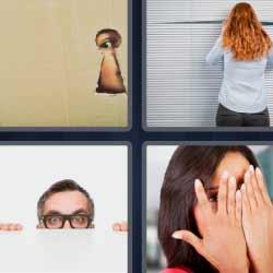 4 fotos 1 palabra mirando por la ventana