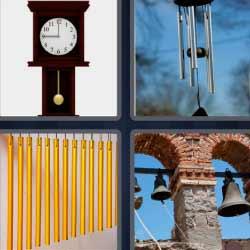 4 fotos 1 palabra reloj de pared