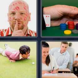 4 fotos 1 palabra hombre lleno de besos