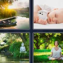 4 fotos 1 palabra bebé durmiendo yoga lago