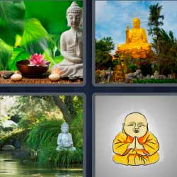 4 fotos 1 palabra estatua budista