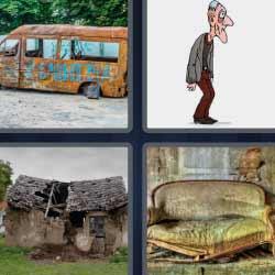 4 fotos 1 palabra sofá viejo casa destruida anciano