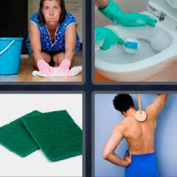 4 fotos 1 palabra mujer limpiando piso