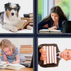 4 fotos 1 palabra libros perro con lentes