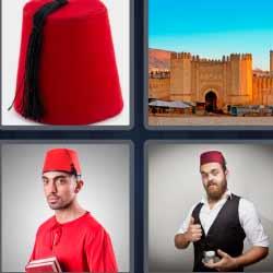 4 fotos 1 palabra sombrero rojo