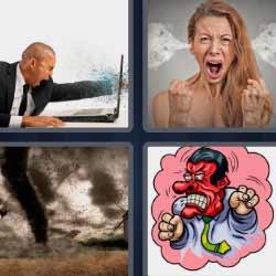 4 fotos 1 palabra hombre enfadado