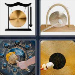 4 fotos 1 palabra platillo dorado colgado
