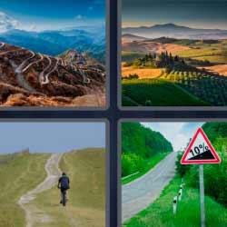 4 fotos 1 palabra caminos montañas