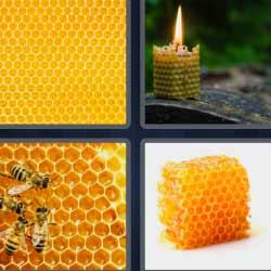 4 fotos 1 palabra cera de abeja
