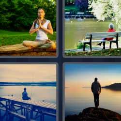 4 fotos 1 palabra mujer meditando