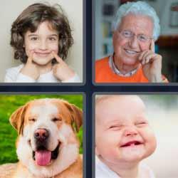 4 fotos 1 palabra niña sonriendo