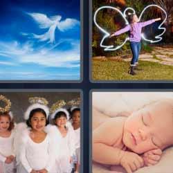 4 fotos 1 palabra nubes forma de angel