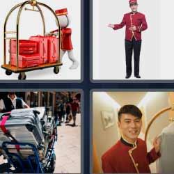 4 fotos 1 palabra maletas rojas