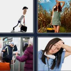 4 fotos 1 palabra mujer con dolor de cabeza