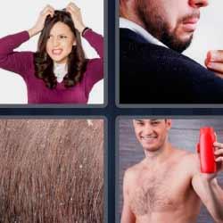 4 fotos 1 palabra mujer rascándose la cabeza