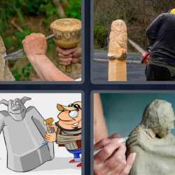 4 fotos 1 palabra tallando piedra