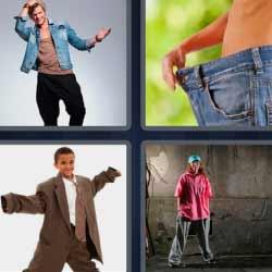 4 fotos 1 palabra ropa muy grande