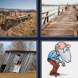 4 fotos 1 palabra casa en ruinas de madera