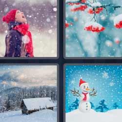 4 fotos 1 palabra nieve árbol
