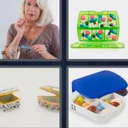 4 fotos 1 palabra caja de pastillas