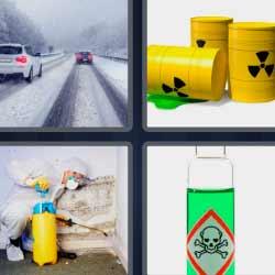 4 fotos 1 palabra barril tóxico