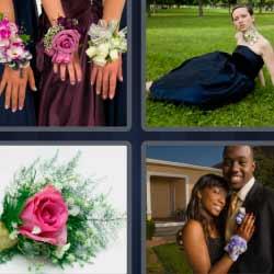 4 fotos 1 palabra flores en las manos