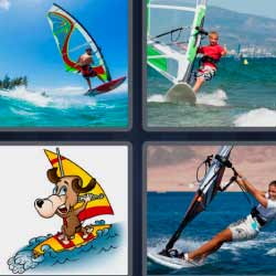 4 fotos 1 palabra vela de surf