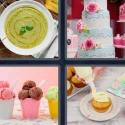 4 fotos 1 palabra plato de puré tarta helados