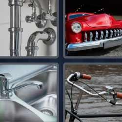 4 fotos 1 palabra tubería bici coche