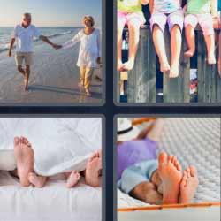 4 fotos 1 palabra pies niños