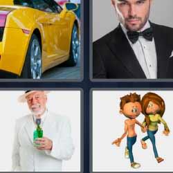 4 fotos 1 palabra coche amarillo