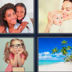 4 fotos 1 palabra niña con lentes