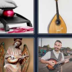 4 fotos 1 palabra guitarra pequeña