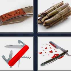 4 fotos una palabra cuchillo